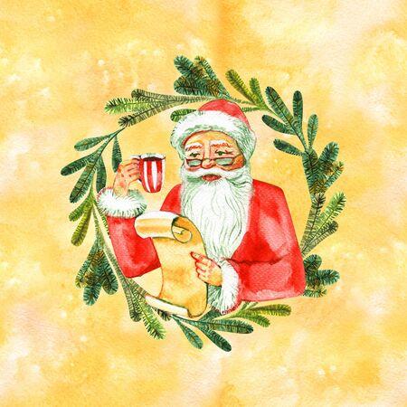 Watercolor santa clause in wreath. 写真素材