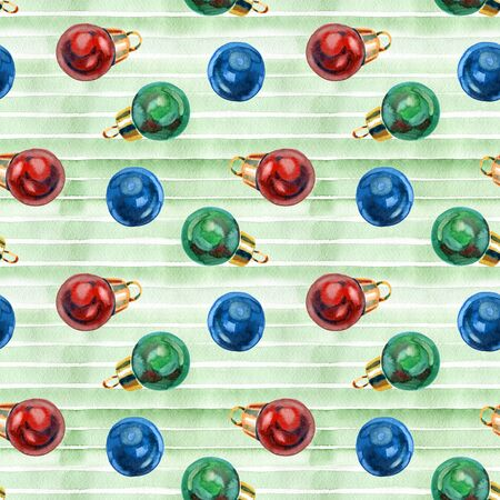 Seamless pattern with vintage Christmas balls. 写真素材