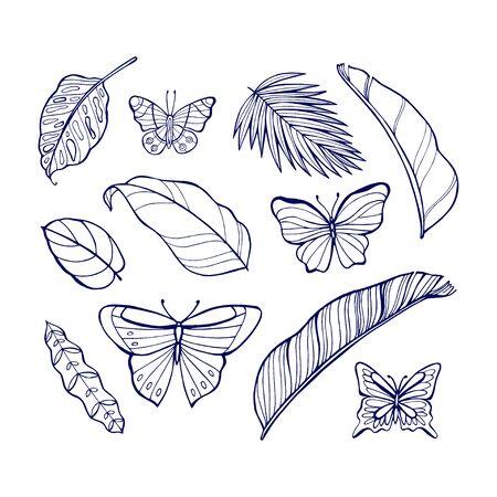 UV ultra violet luminous neon light effect editable template. Jungle rainforest plants, butterfly, retro techno acid styling. Illusztráció