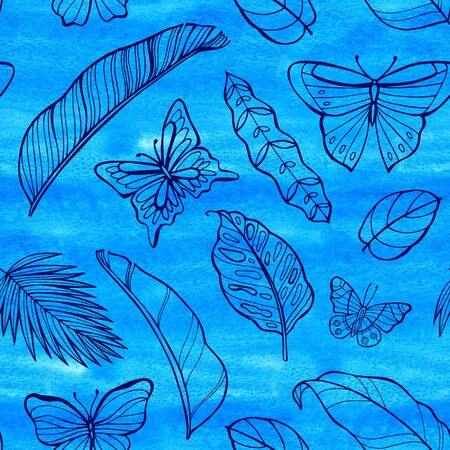 Tropical wild neon seamless pattern. Watercolor background. Perfect for greetings, invitations, manufacture wrapping paper, textile, web design. Reklamní fotografie - 133768189