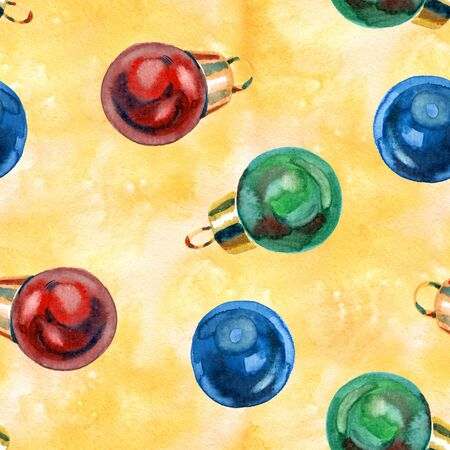 Seamless pattern of hand drawn golden Christmas balls, Christmas design Reklamní fotografie - 133768199