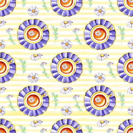 Watercolor hand painted provence village seamless pattern. Reklamní fotografie - 133768282
