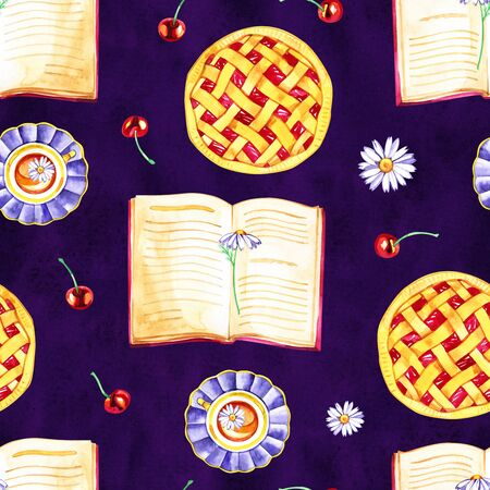 Seamless pattern with fragrant cherry pie and berries. Watercolor illustration. Stok Fotoğraf