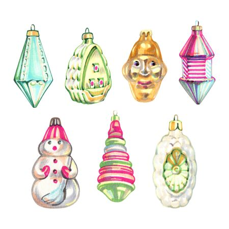 Hand draw Christmas toys with on Christmas tree by markers for post card