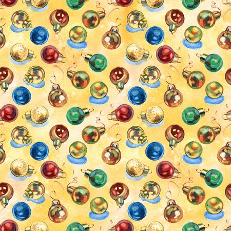 Watercolor background pattern with traditional new years toys. Seamless pattern.