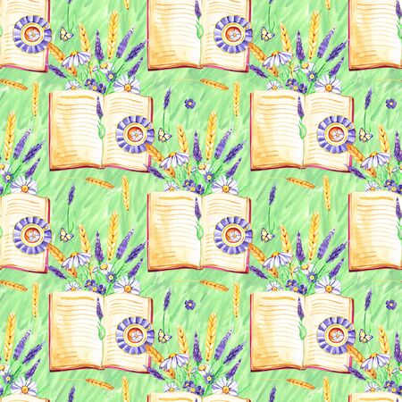 Watercolor hand painted provence village seamless pattern. Reklamní fotografie - 133768289