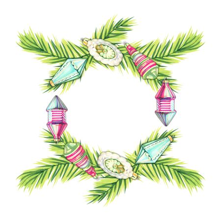 Christmas New year holidays marker hand drawn illustration with xmas wreath. Christmas decoration and holy with berries . holidays hand drawn card. 写真素材