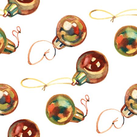 Seamless pattern of hand drawn golden Christmas balls, Christmas design Reklamní fotografie - 133768297