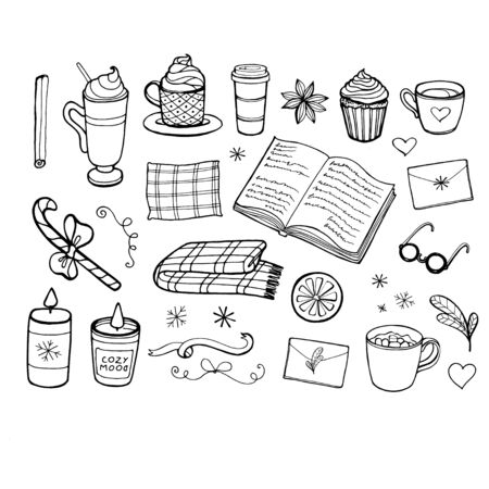 Vector illustration with Time to Hygge and cozy home things. Danish living concept. Hand drawn style.