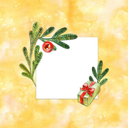 Watercolor Christmas wreath with decorations. Winter Holiday frame.