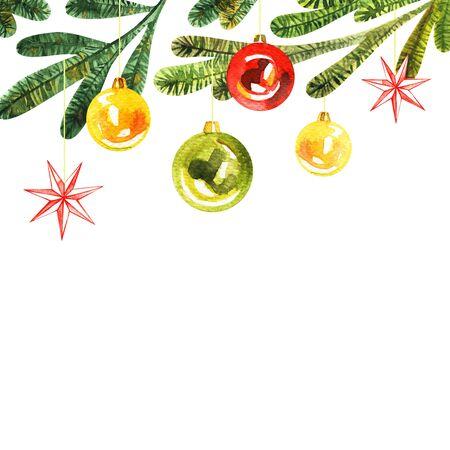 Christmas green frame. Watercolor hand drawn illustration.