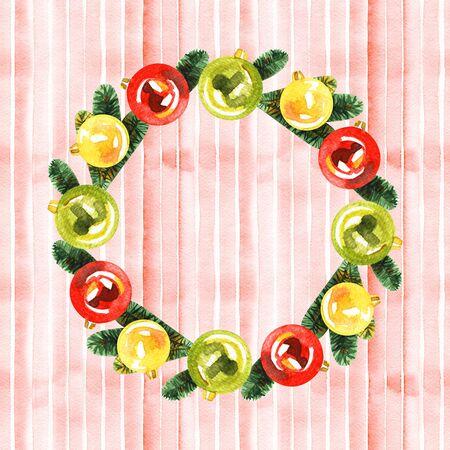 Watercolor Christmas wreath. Winter Holiday Watercolor illustration. 写真素材