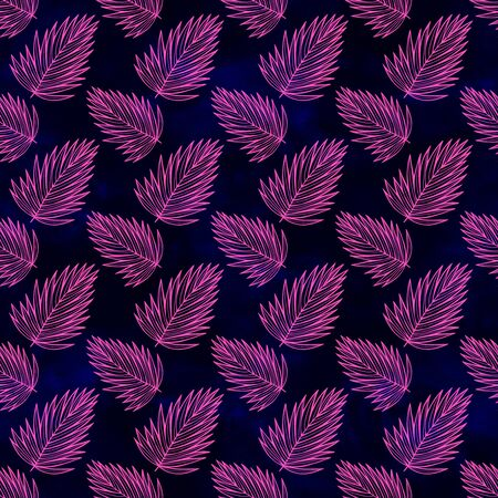 Seamless watercolor tropic leaves pattern. Colorful leaves in a spacious allover composition. beautiful impressionist illustration of palm leaves. Perfect for greetings, invitations, manufacture wrapping paper, textile, web design Reklamní fotografie - 133768327