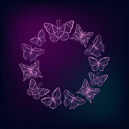 Neon wreath of butterflies on a dark background. Vector illustration. Stock fotó