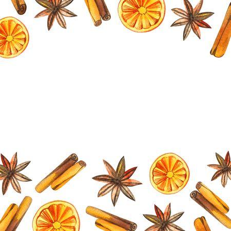 watercolor Christmas wreath with oranges, cinnamon frame, holiday Christmas.