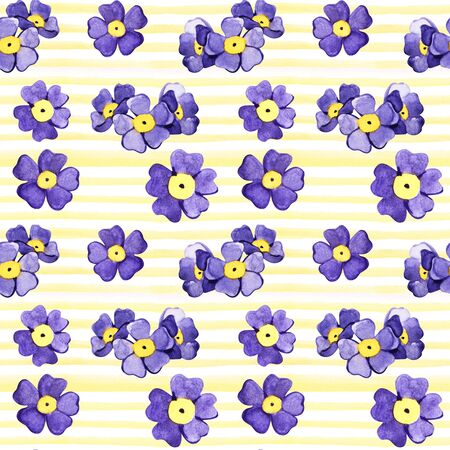 Seamless background with watercolor forget-me-not. Beautiful pattern. Summer, cute, sky blue little flowers. Hand painted. Raster illustration. Perfect for wrapping paper, decor, textile, web design