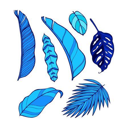 UV ultra violet luminous neon light effect editable template. Jungle rainforest plants, butterfly, retro techno acid styling.  イラスト・ベクター素材