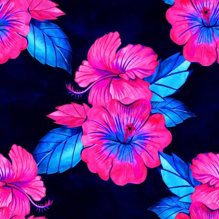Seamless hibiscus summer fashion floral pattern. Tropical flowers and exotic leaves. Watercolor illustration on neon rainbow background