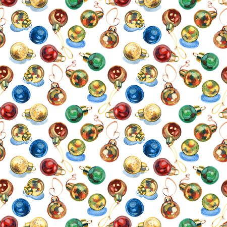 Seamless pattern with vintage Christmas balls. Hand drawn baubles.