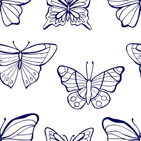 Seamless pattern with colorful hand drawn outline butterflies. Spring summer background. Vector illustration  イラスト・ベクター素材