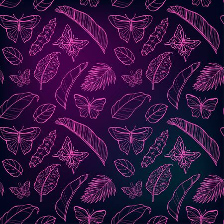 Tropical neon leaves pattern. Colorful Nature seamless background.