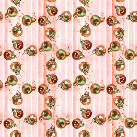 Seamless pattern of hand drawn golden Christmas balls, Christmas design