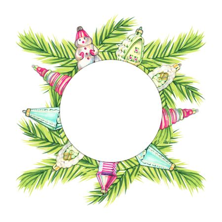 Marker hand painted wreath with winter accessories. Vintage Christmas toys.
