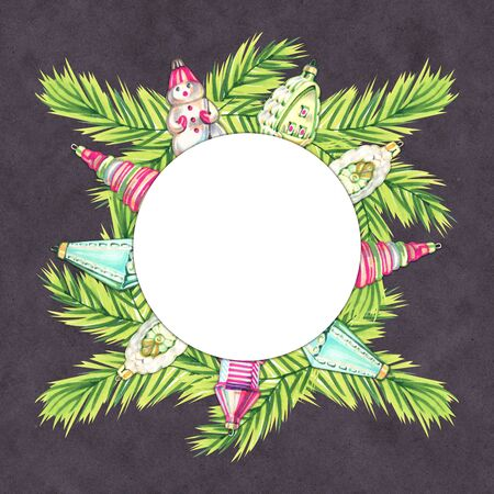 New Years composition. Christmas decorations. Marker sketch illustartion, frame, wreath