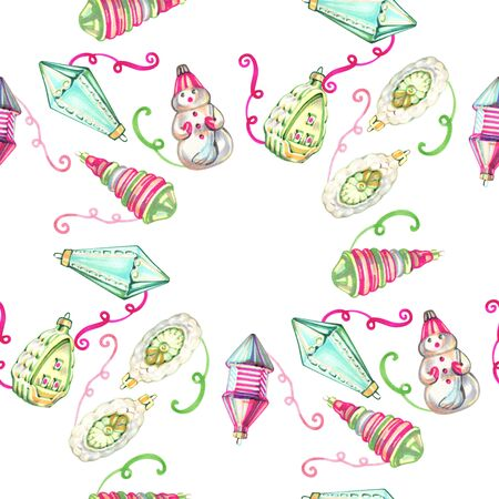 christmas seamless pattern in cartoon or decorative embroidery style with xmas toys. Design best for wrapping paper, cards, posters, scrapbooking. 写真素材 - 134252942