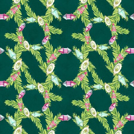 christmas seamless pattern in cartoon or decorative embroidery style with xmas toys. Design best for wrapping paper, cards, posters, scrapbooking. 写真素材 - 134252941