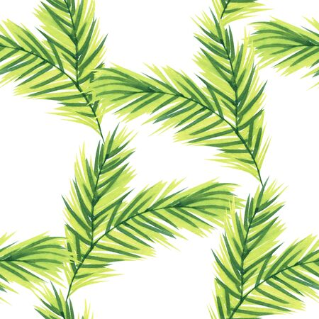 Pine tree branch. Watercolor repeat seamless pattern.