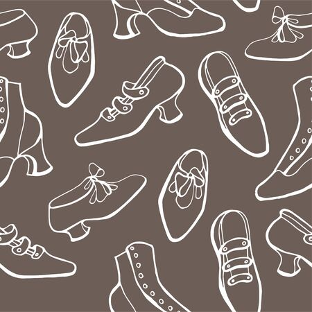 Retro shoes background. Vector hand draw vintage seamless patter. 写真素材 - 134252947