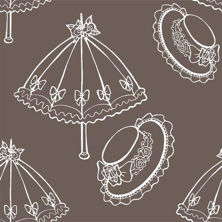 Illustration of vintage umbrella, hat. Seamless background fashionable modern wallpaper or textile 写真素材 - 134252948