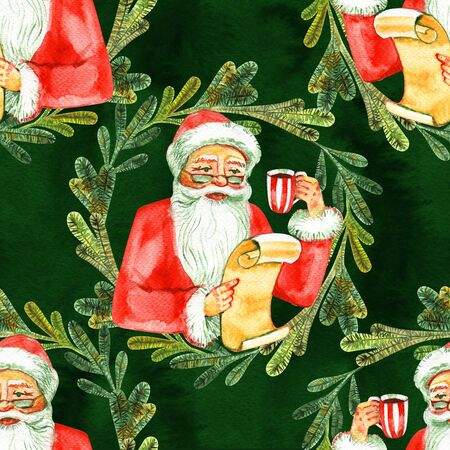 Holiday seamless pattern with Santa Claus. Christmas background. 写真素材 - 134252951