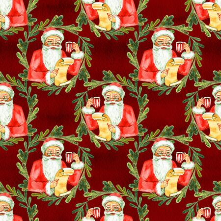 Holiday seamless pattern with Santa Claus. Christmas background. 写真素材 - 134252989