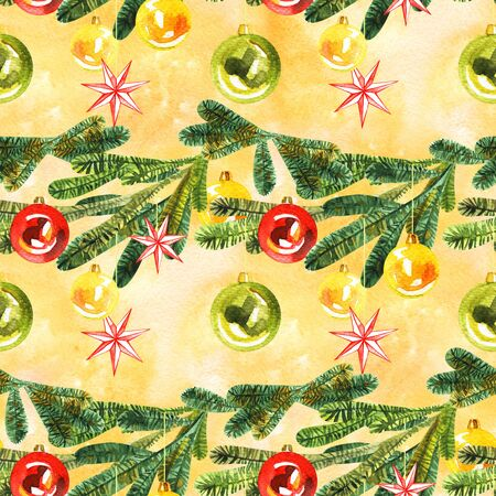 Watercolor christmas seamless pattern. New year tree ornament for design, print or background 写真素材 - 134252992