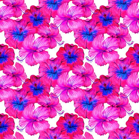 Watercolor neon pink hibiscus seamless pattern. Perfect for greetings, invitations, manufacture wrapping paper, textile, web design. 写真素材 - 134252993