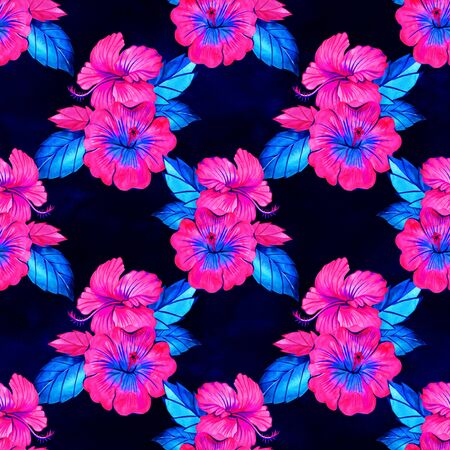 Seamless hibiscus summer fashion floral pattern. Tropical flowers and exotic leaves. Watercolor illustration on neon rainbow background 写真素材 - 134252994