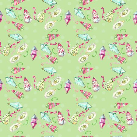 Seamless pattern with christmas toys. Watercolor painting. Winter background. Hand drawn new year illustration. Greeting card. Holiday drawing. Painted backdrop 写真素材 - 134253007