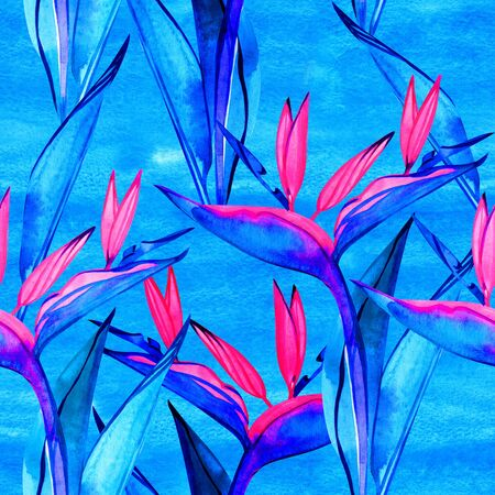 Seamless bird of paradise flower pattern. Hand painted watercolor exotic flowers of strelitzia. Textile design. Perfect for greetings, invitations, manufacture wrapping paper, textile, web design. 写真素材 - 134437063