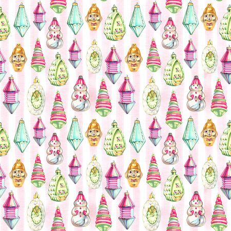 Watercolor Christmas toys seamless pattern. Hand drawn Christmas balls background. New Year and xmas repeatable motif for wrapping paper, background, winter design projects 写真素材