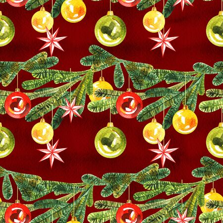 Hand-drawn watercolor seamless pattern with Christmas balls. Holiday pattern with New Year toys on a white background Stok Fotoğraf