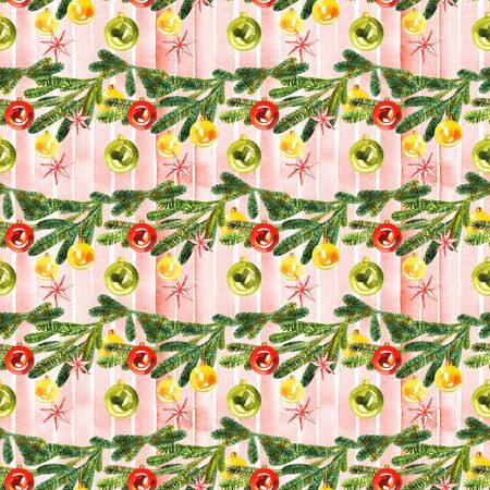 Seamless watercolor Christmas pattern background with advent wreath Stok Fotoğraf