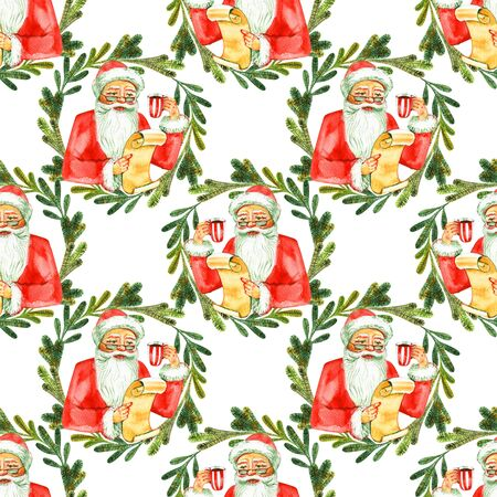Seamless watercolor Christmas pattern background with advent wreath 写真素材 - 134544599