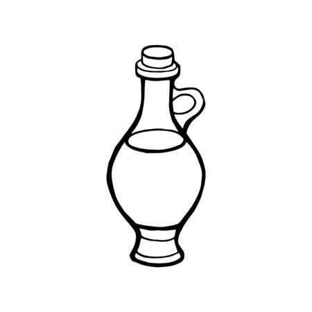 Vector hand drawn picture of oil bottle. Illustration isolated on white background 写真素材 - 134476747