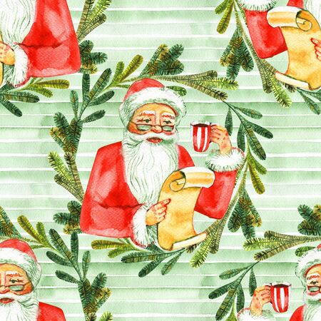 Holiday seamless pattern with Santa Claus. Christmas background. 写真素材 - 134544613