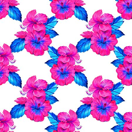 Hibiscus. Seamless exotic pattern with tropical leaves and flowers on a white background. Watercolor illustration. 写真素材 - 134544614