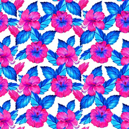 Hibiscus. Seamless exotic pattern with tropical leaves and flowers on a white background. Watercolor illustration. 写真素材 - 134806383