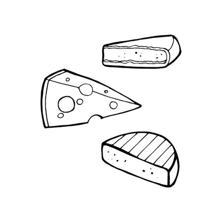 Cheese set hand-drawn vector illustrations isolated on white background Çizim
