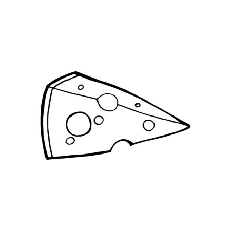 Vector illustration of hand drawn cheese. isolated on white background